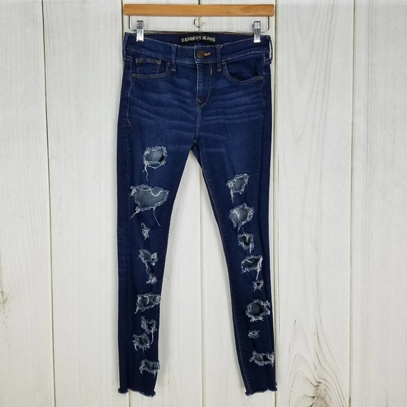 Express Mid-rise Waist Destroyed Skinny Jeans